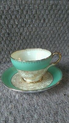Shelley Vintage Cup And Saucer Green/gold