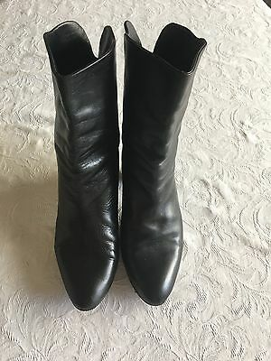 Black Italian Leather Pirate Boots Made in Italy Size 8