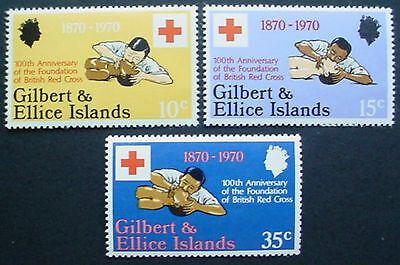 Gilbert & Ellice:  1970: Centenary Of British Red Cross: Set Of 3 Mnh Stamps