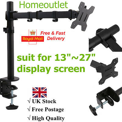 """Single Monitor Arm Desk Mount Computer Screen Bracket Stand 13""""-27"""" LCD LED TV"""