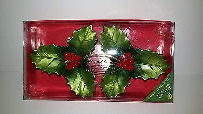NIB Pair of Holly Leaf with Berries Candles by Sensual Living