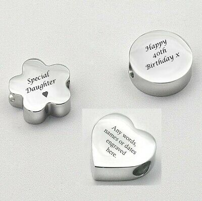 Personalised Charm Bead, Engraved Heart, Round or Flower Bead, Any Engraving