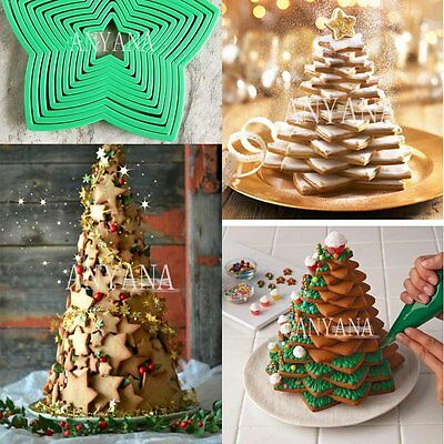 10 Pcs set 3D Star Decoration Cutter Cookie Biscuit Set for Gift Christmas Tree