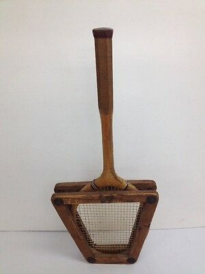 """Vintage  Wooden """"Memorabilia"""" Tennis Racket with Frame Cover"""