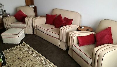 art deco 3 piece suite 2 seater sofa and 2 arm chairs