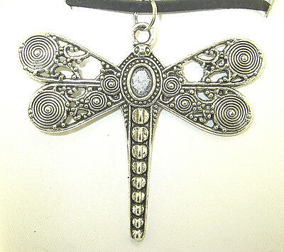 """New  Large Beautiful  DRAGONFLY  Silver-tone Pendant 18"""" - 20"""" Black Necklace"""