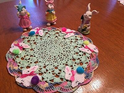 Hand Crocheted Bunny On Parade Centerpiece Doily