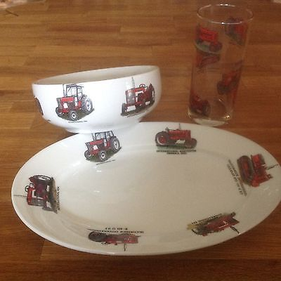 """International 6 Different Tractor On 8""""oval Snack Plate Chip Resistantporcelain"""