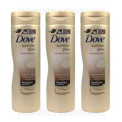 3 x Dove Summer Glow Nourishing Body Lotion Tanning Normal To Dark 3 Pack 250ml