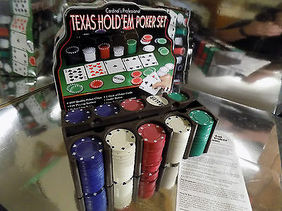Professional Texas Hold'Em Poker Set In Tin 200 Chips Card Game Instructions VGC