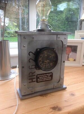 RAF 1945 Mosquito Fighter/bomber 420 Knot ASI Pilots Instrument in Edison Lamp