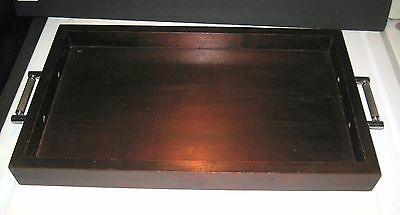 "Walnut Wood Large Tray With Chrome Handles - 23"" Long  - Beautiful"