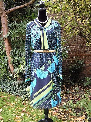 Superbe Robe Col Cravate Fleurs Hippie Chic Vintage Sixties Annees 60 70 T42 Tbe
