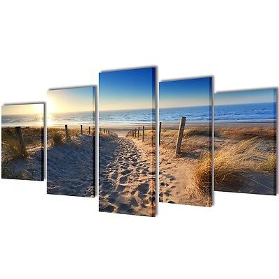 New 5 Panel Canvas Wall Art Print Painting Picture Set Sand Beach 100x50cm