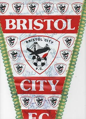 BRISTOL CITY Signed Football Pennant late 1980's FREE POST UK