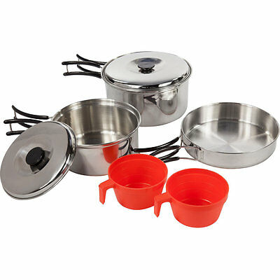 Regatta 2 Person Stainless Steel Pots Pan & Cups Camping Cook Set