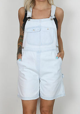 Dungarees Shorts UK 10-12 Small Medium Fitted Oversized 8-10 XS Denim  (E4L)