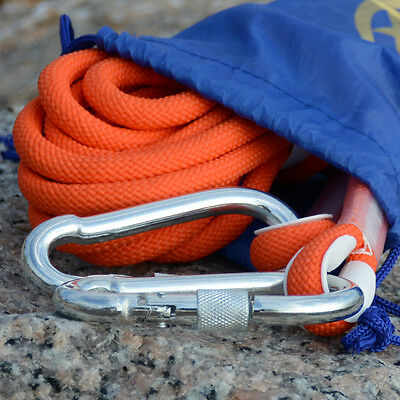 10M Orange Tree Arborist Rock Climbing Rescue Auxiliary Rope Cord & 2 Carabiners