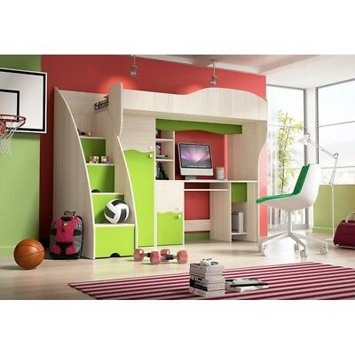 Bunk Bed For Children With Desk Drawers - Perfect For Small Spaces (Green)