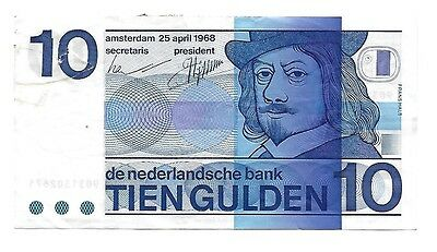 Netherlands 10 Gulden 1968 P91b