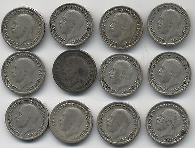 Collection Of George V Silver Sixpence Coins***Collectors***