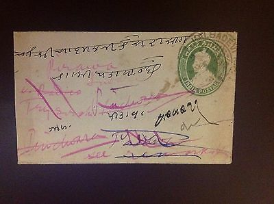 India Indore 1917 Embossed Envelope Readdressed With 4 Different Back Stamps