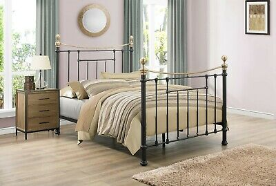 Birlea Bronte Classic Vintage Metal Bed 4FT6 and 5FT Antique Brass Finials