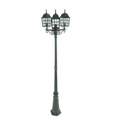 Outdoor Garden Lamp Post Victorian Style Three Lantern Heads Patio Elegant Light