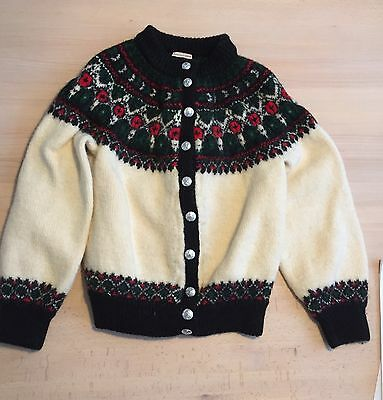Danish Cardigan Hand Knitted Thick Knit Wool Size Small Vintage Special Buttons