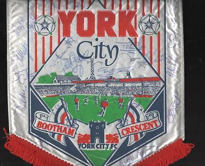 YORK CITY Bootham Crescent Large Signed Pennant FREE POST UK