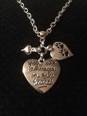 """Silver Plated 18"""" You Are Always In My Heart/pawprints Heart Pet Loss Necklace"""