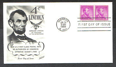 Us Fdc 1958 Lincoln 4C Coil Stamps Fleetwood First Day Of Issue Cover Mandan Nd