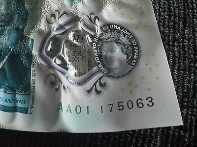 five pound note aa01 175063