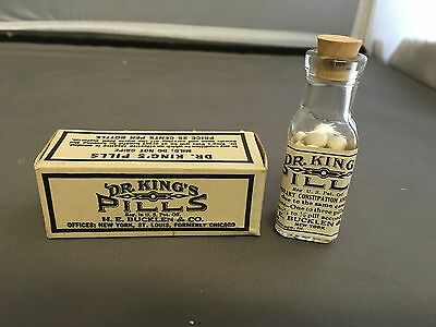 Antique Dr. King's Pills  ORIGINAL  BOTTLE  AND - BOX  AND PILLS  MINT