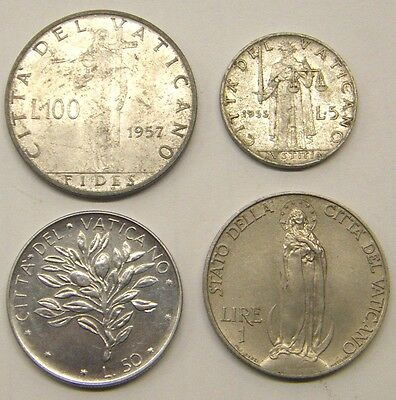 Vatican 4 Coins 1932 Onwards