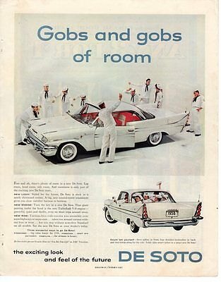 Vintage Magazine Ad Oversize 1958 Desoto Gobs and gobs of room