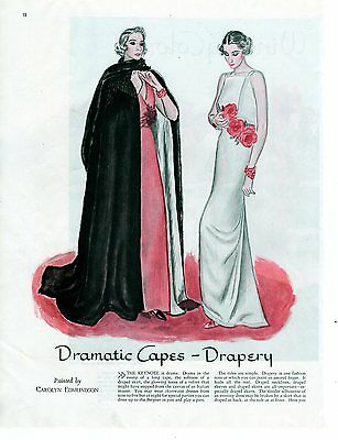 1935 Original Dramatic Capes Lord & Taylor ad Oversize wonderful for framing