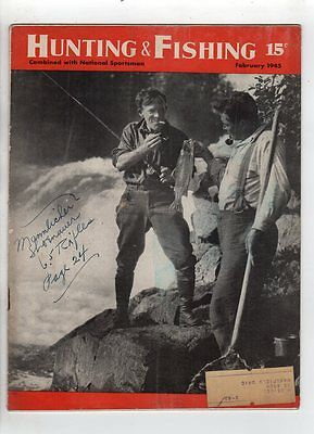 hunting and Fishing magazine  February 1945 Northern Trout Ontario Yellow Perch