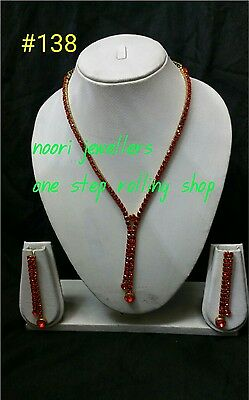 New Indian Costume jewellery necklace and earrings set gold  tone red colour