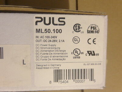 PULS ML50.100 Power Supply Input: 100-240V 50-60Hz Output: DC 24-28V