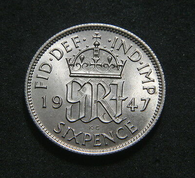 George VI 1947 Sixpence Low UNC