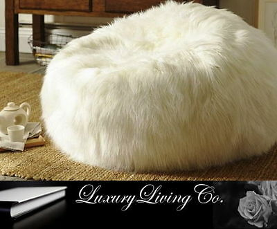 Fur Beanbag luxury soft white bedroom movie chair