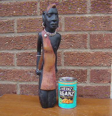 """Vintage Carved African Figure - Tribal Warrior With Beads - Large 15"""""""