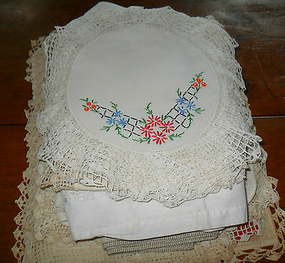 Antique Embroidered 35 Table Linens Handmade Assortment Includes Sets 3+ Lbs.