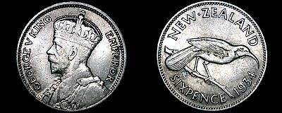 1934 New Zealand 6 Pence World Silver Coin