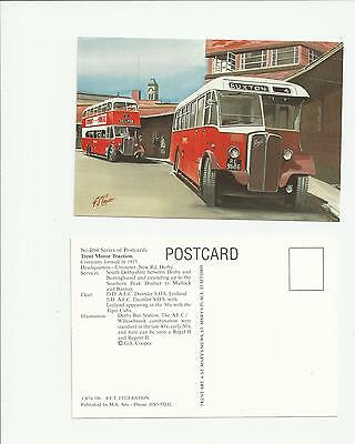 Bus Postcard Derby Bus Station Trent Motor Traction Art Postcard by G S Cooper