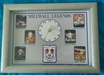 Millwall F.C legends clock.  Shadow box frame.  Size A4
