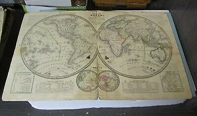 1839 Smith Geography Hand Colored World Map Republic of Texas Pictured 12x19