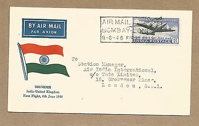 India: First Flight Cover. Postally used 8 June 1948.(Ref 969)