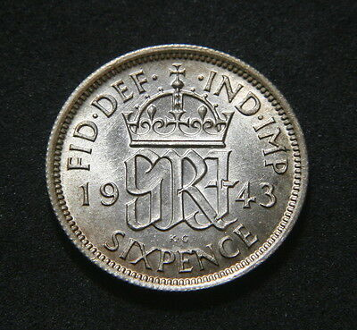 George VI 1943 Sixpence Low UNC